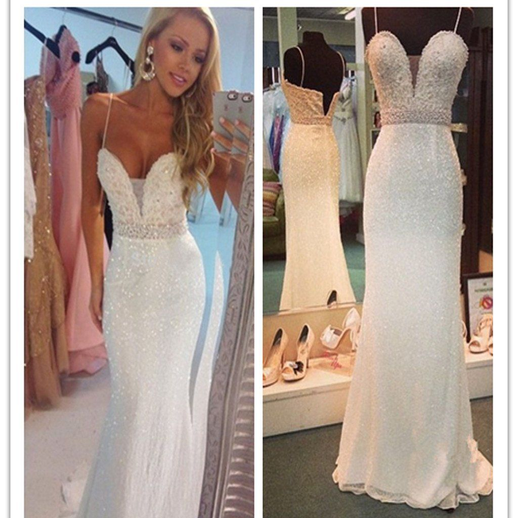 Long white beaded spaghetti straps mermaid sexy for teens evening