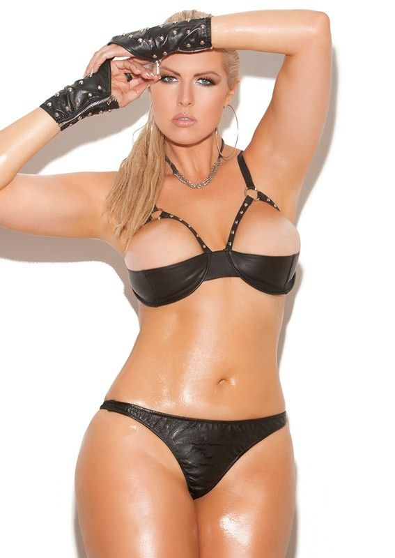 3154a7c0a Demi Cup Plus Size Leather Lingerie Bra - Plus Size Demi Cup Leather  Lingerie Bra Set Naughty and raunchy 100% genuine leather studded plus size  demi cup ...