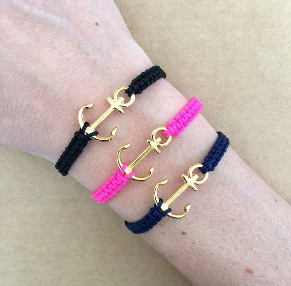 7e174013d5ad Nautical Gold Plated Anchor Macrame Friendship Bracelet - Summer ...