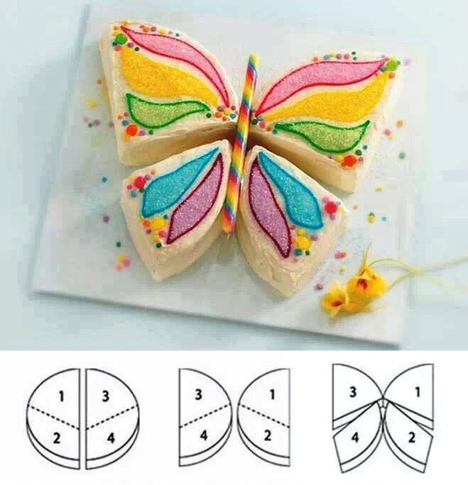 Faire un papillon partir d 39 un g teau rond id e g teau - Decoration gateau papillon ...