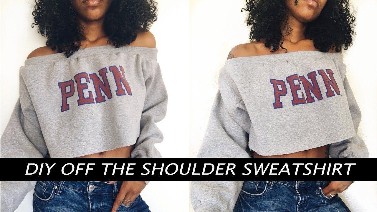 0dc4d480605bc2 DIY Off The Shoulder Sweatshirt - YouTube