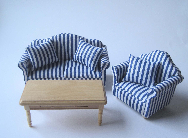 Couchgarnitur Sofa, Sessel, Tisch Puppenhaus Möbel Wohnzimmer