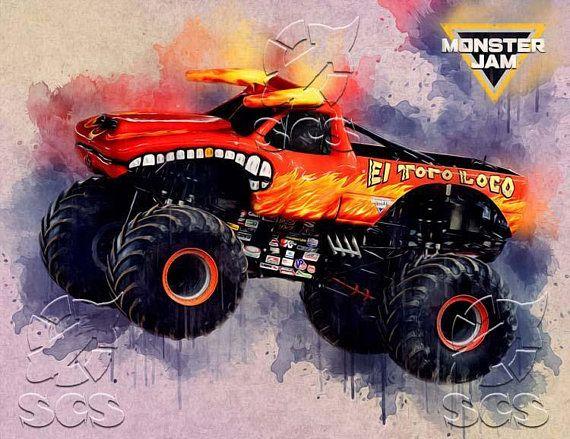 El Toro Loco Monster Jam Print Poster Watercolor
