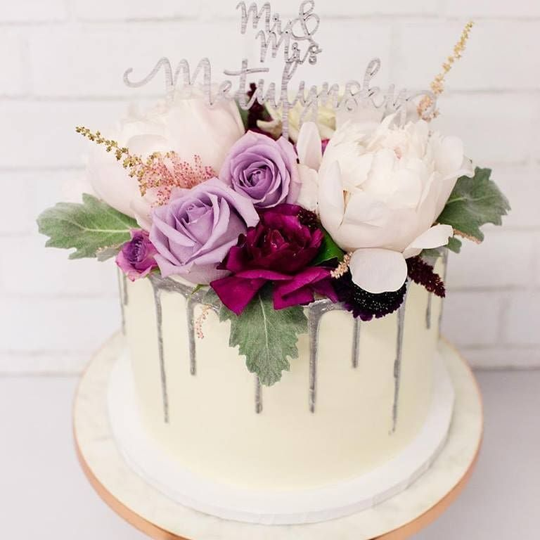 One Tier Drip Icing With Vivid Florals Wedding Cakes One Tier Tiered Cakes Birthday Spring Wedding Cake