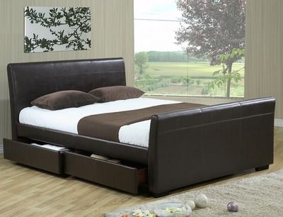 Time Living Houston King Size (4 Drawer) Brown Faux Leather Bed