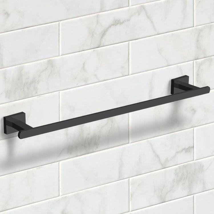 . 21 Inch Modern Matte Black Towel Bar in 2019   Black Bathroom