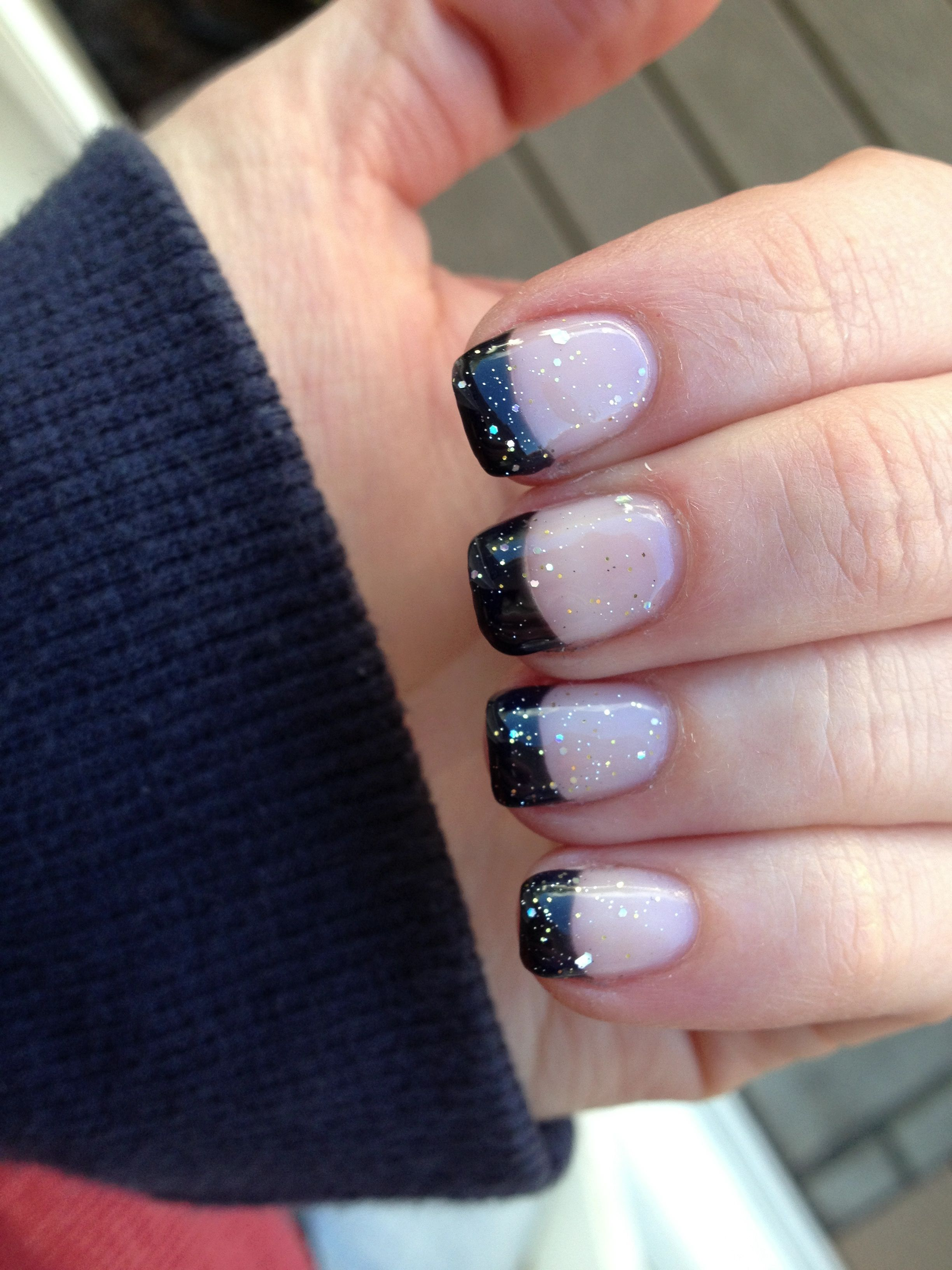 French Tip Manicure Black With A Little Sparkle With Images
