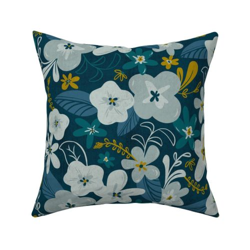 Fabric by the Yard Greyson - Boho Floral - Large Scale - Dark Floral - Teal Blue