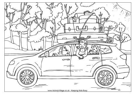 Car Trip Colouring Page Coloring Pages Cars Coloring Pages Airplane Coloring Pages