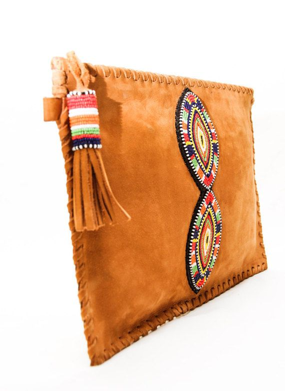 Tembo Masai leather clutch bag