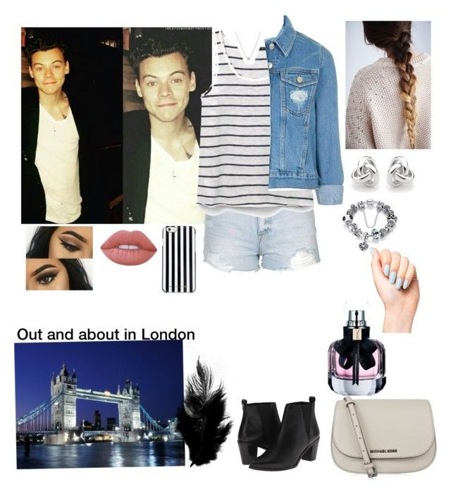 """""""Out and about with Harry in London """" by tiffany-london-1 ❤ liked on Polyvore featuring Topshop, MANGO, Dune, MICHAEL Michael Kors, Lime Crime, Georgini and Yves Saint Laurent"""