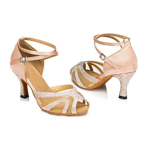 d242c1004583dd Rhinestones Ballroom Dance Shoes Women Latin Salsa Bachata Performance Dance  Shoes Suede Sole 10 Nude25inch Heels   Details can be found by clicking on  the ...