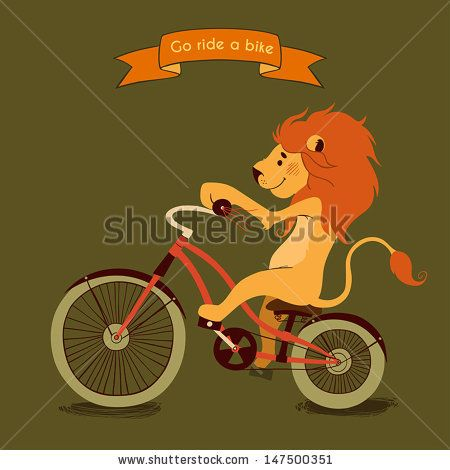 DON'T LIKE THE COLORS BUT THE DESIGN OF THE LION ON THE BIKE WITH A BIG MANE!  MAYBE WITH A PARTY HAT!