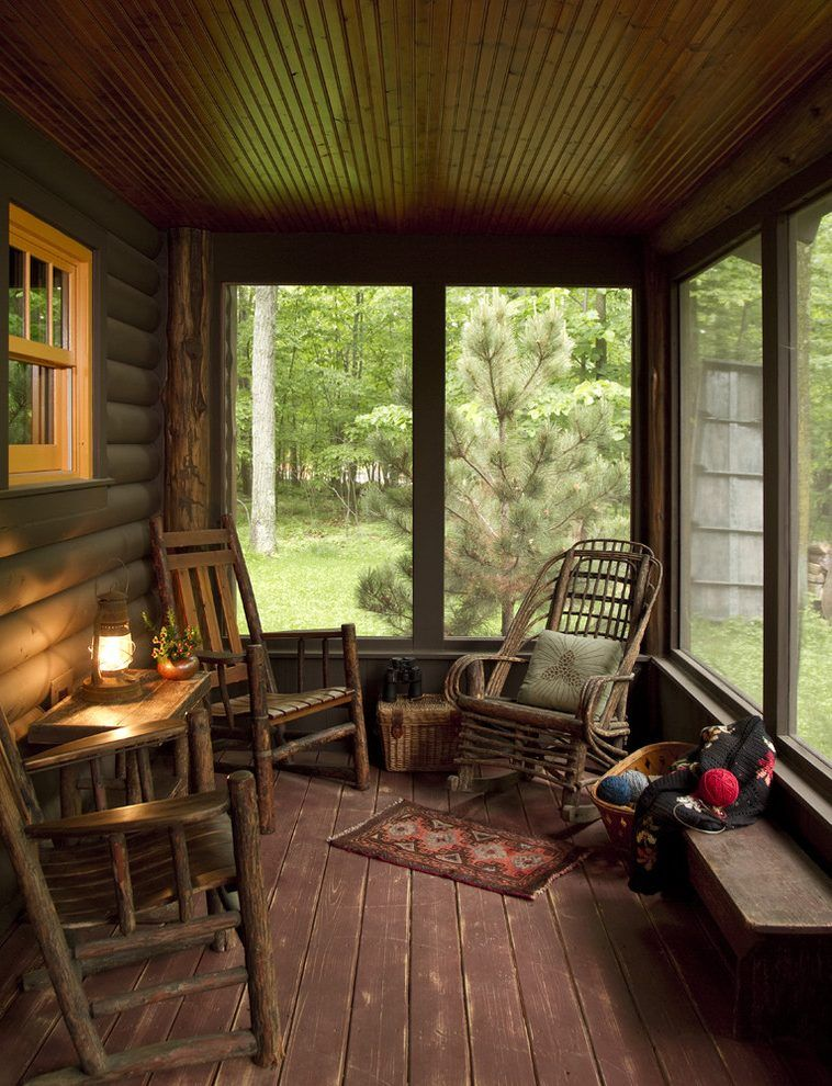 Country Style Porch With Rustic Wooden Bat Houses