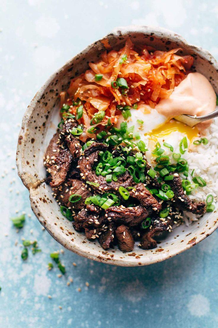 Korean BBQ Yum Yum Rice Bowls: easy marinated steak, spicy kimchi, poached egg, rice, and yum yum sauce! | pinchofyum.com