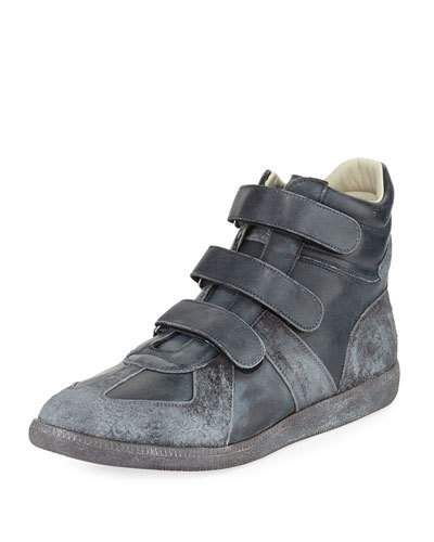 958724bd940eb Maison Margiela Triple-Strap Burnished Leather & Suede High-Top Sneaker