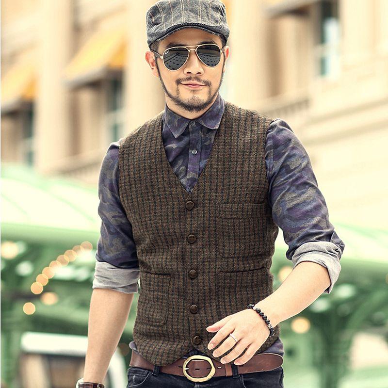 pas cher nouvelle angleterre vintage hommes de laine tweed casual gilet de costume slim fit. Black Bedroom Furniture Sets. Home Design Ideas