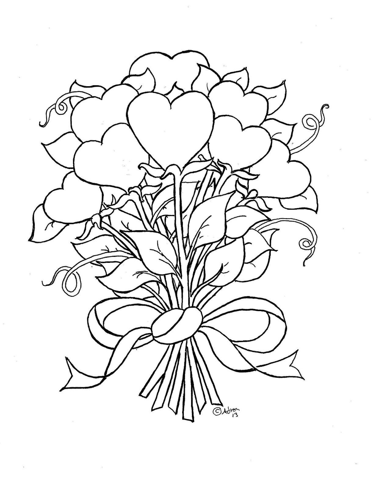 Flower Hearts Kid S Print And Color Page Heart Coloring Pages