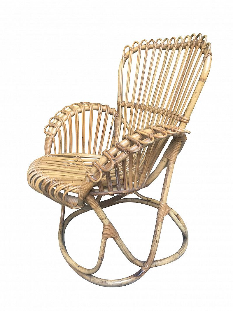 Poltrone In Vimini Da Interno rattan low lounge chair, 1970s nel 2020
