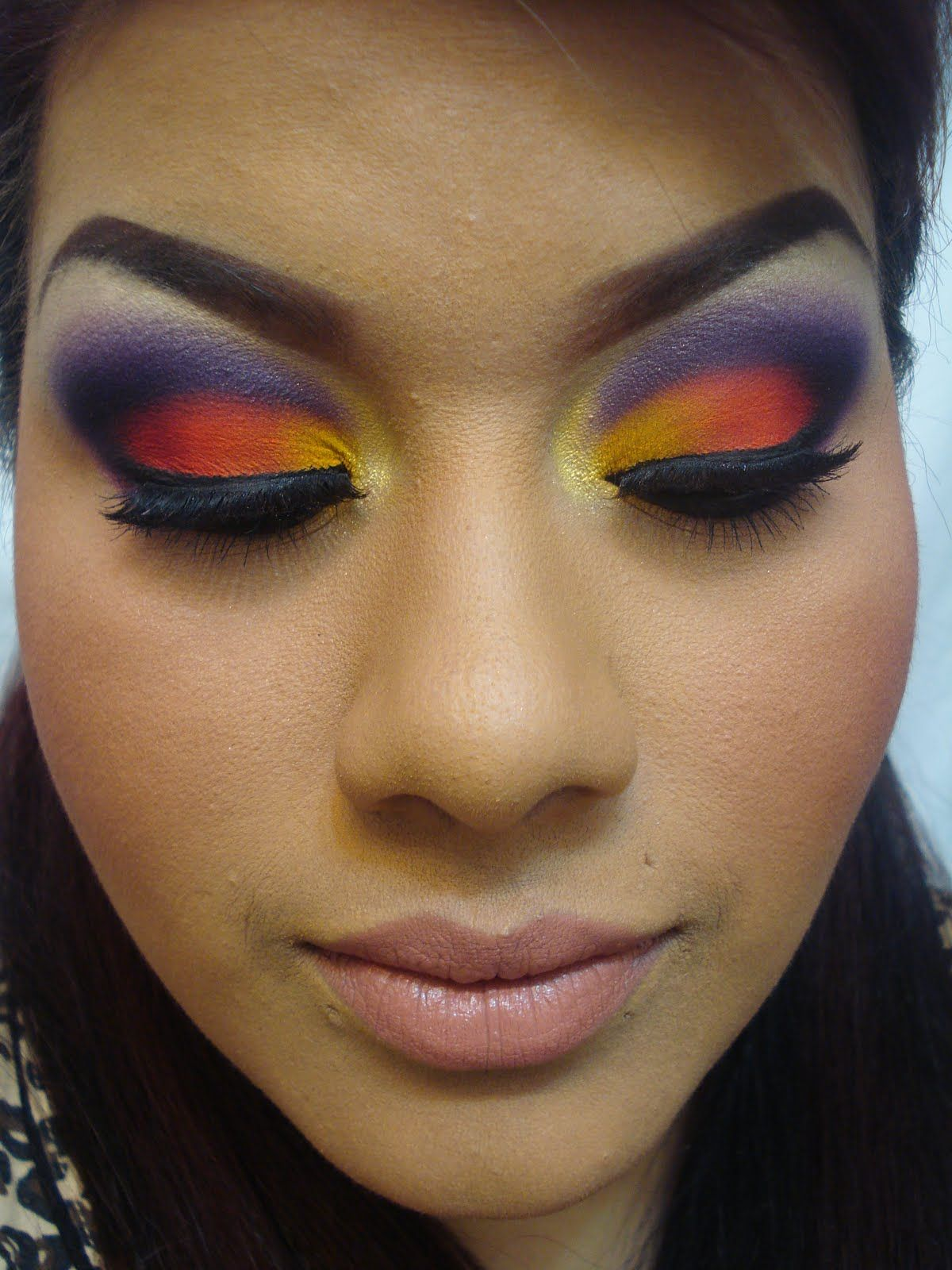 purple orange yellow eyeshadow hair make up nails. Black Bedroom Furniture Sets. Home Design Ideas