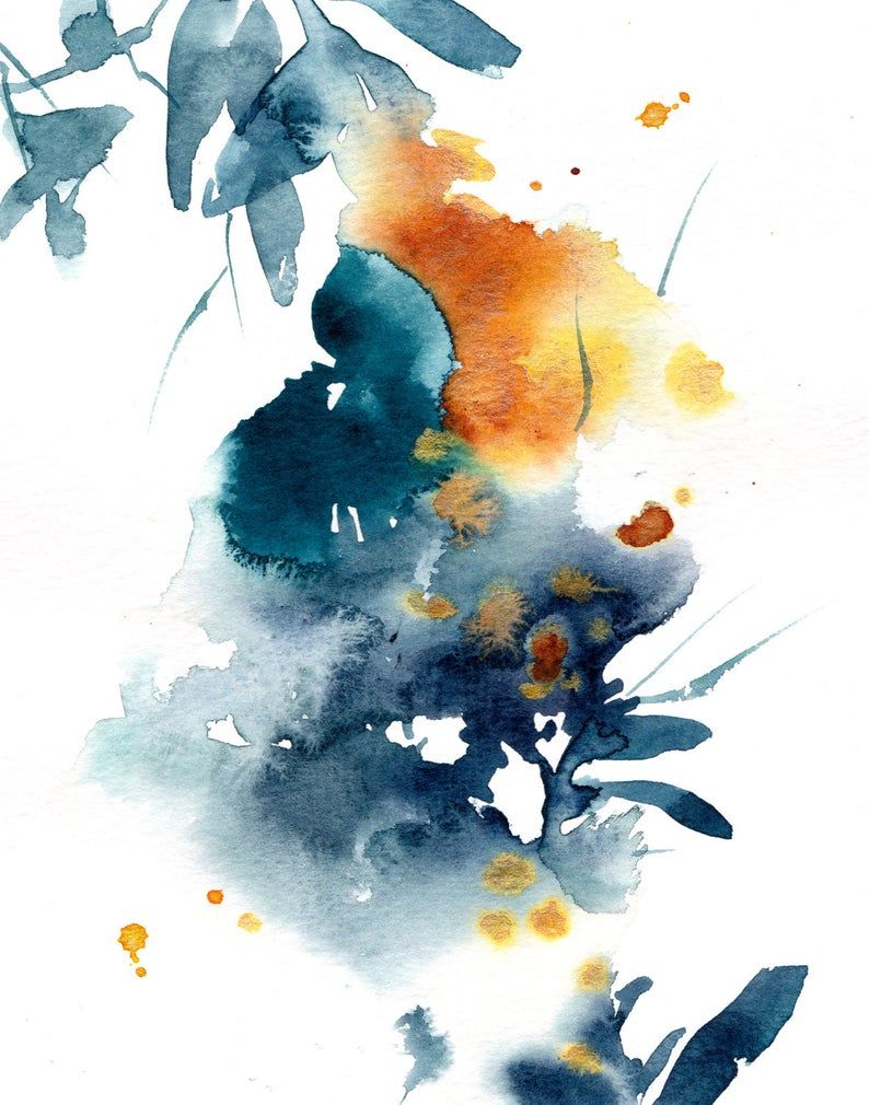 Abstract Floral Art Print Loose Style Blue Yellow Watercolor