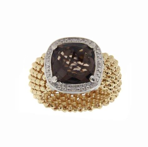 925 sterling silver ring dipped in yellow gold with diamonds