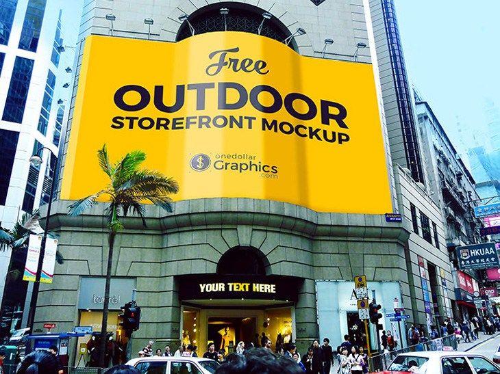 Outdoor Storefront Advertising Mockup Free Download Freebiesjedi Mockup Mockup Photoshop Store Fronts