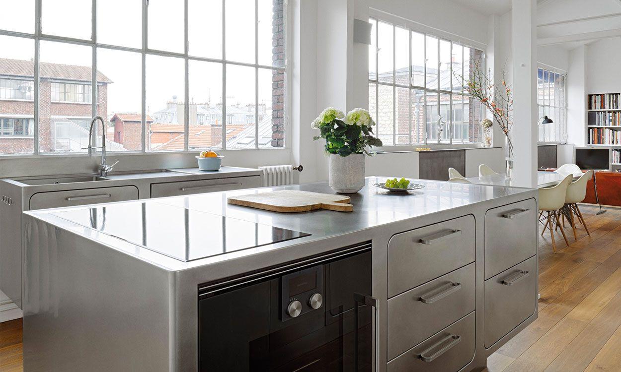 Private House Parigi Stainless Steel Kitchen Cabinets Stainless Steel Kitchen Table Stainless Steel Kitchen