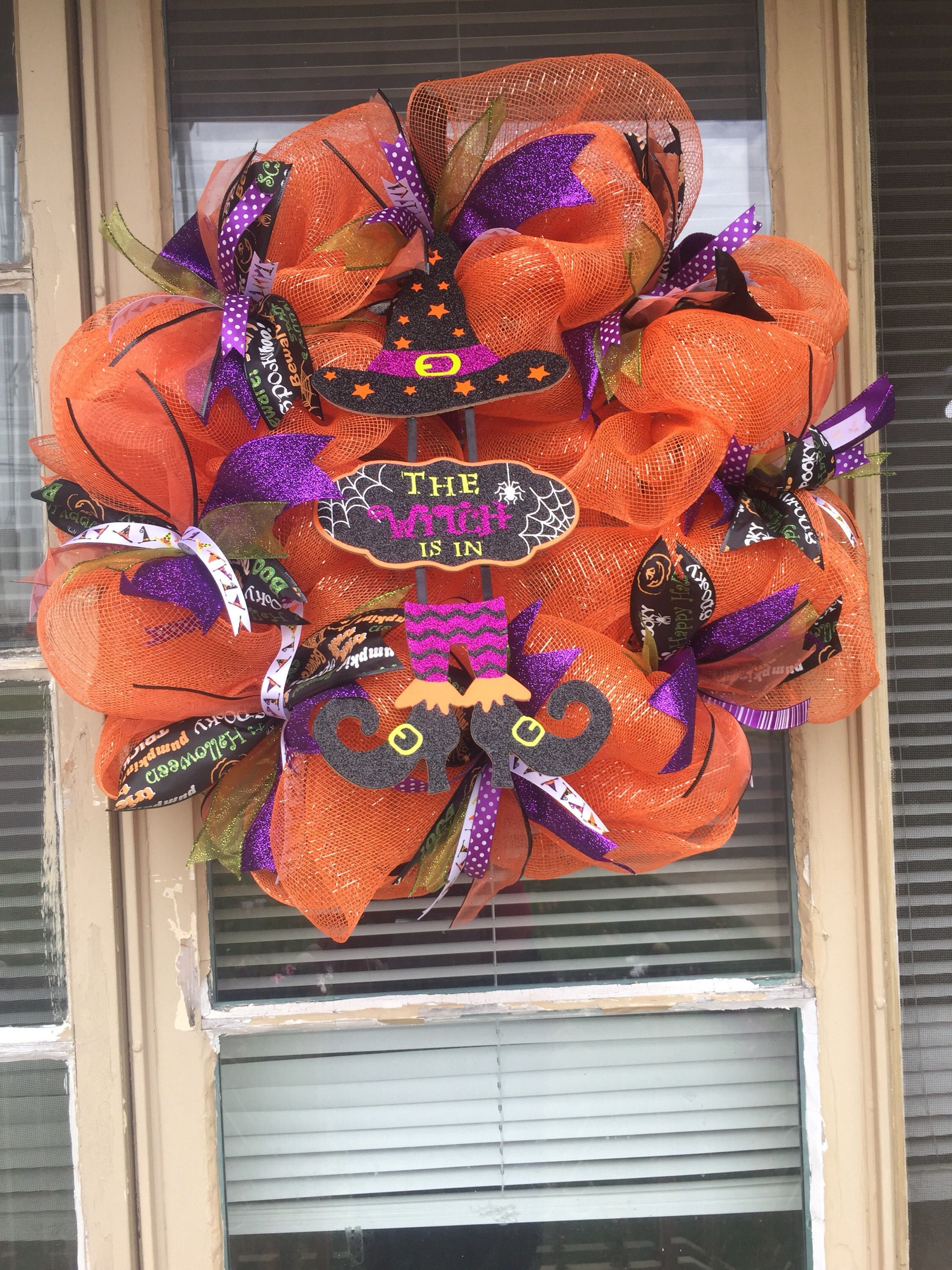 Halloween witch wreath, the witch is in, Halloween wreath