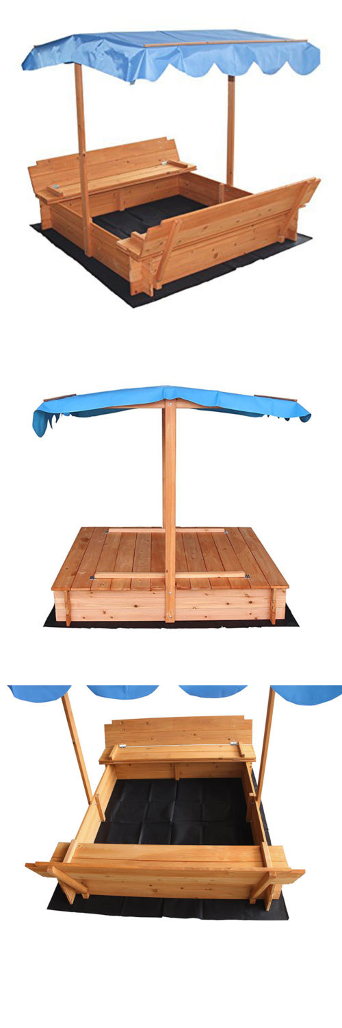 Sandbox Toys And Sandboxes 145990: Outdoor Kids Sandbox With Canopy And Two  Bench Seats Can. Kids SandboxSandbox CoverRetractable ...