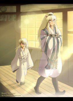 -Kagome looks at the butterfly, and Inuyasha looks at her ...