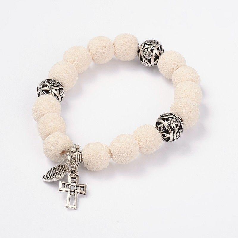 Cross & Heart Lava Beads Charm Strech Bracelets from Pandahall.com