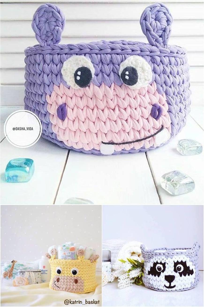 DIY - Cesta de crochê com fio de malha | tejido hogar | Pinterest ...