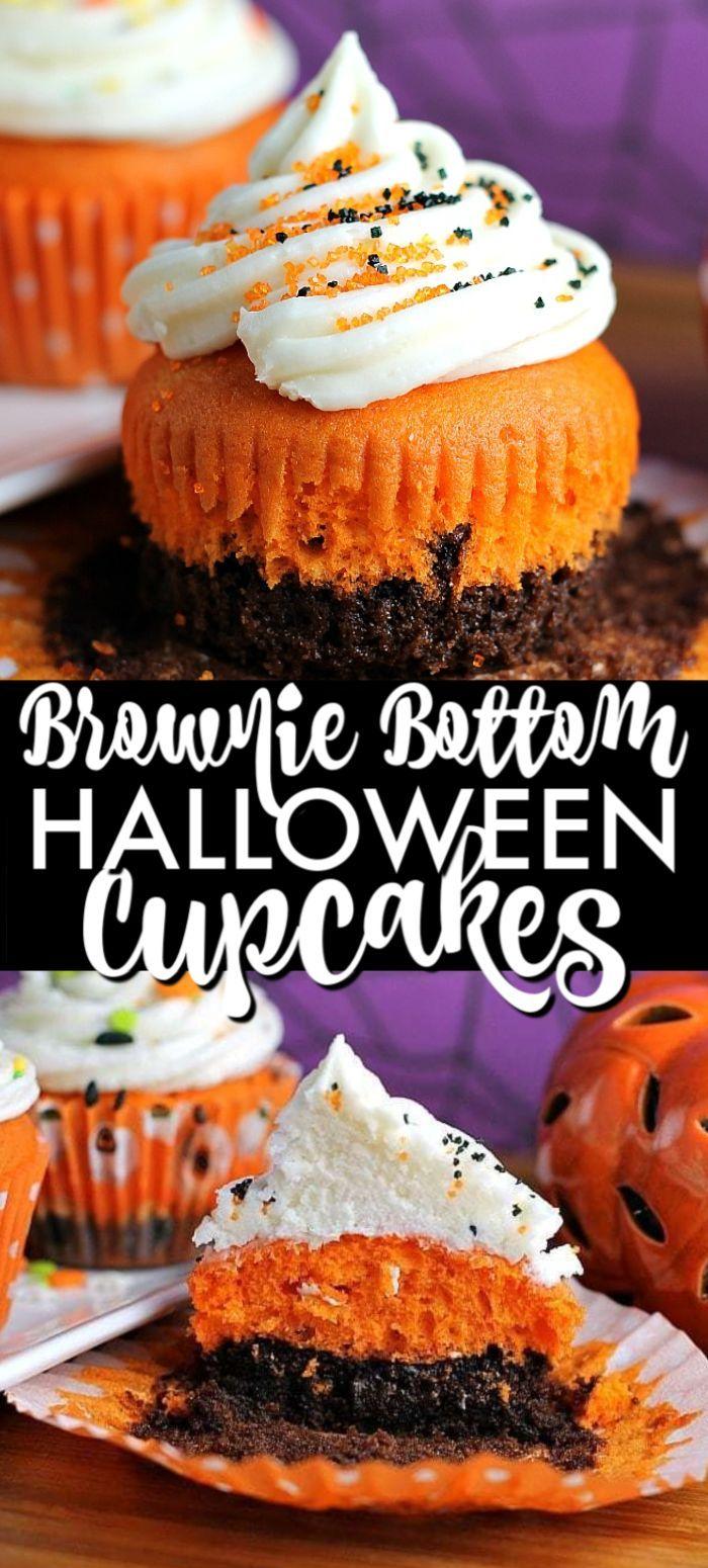 Brownie Bottom Halloween Cupcakes #halloweencupcakes