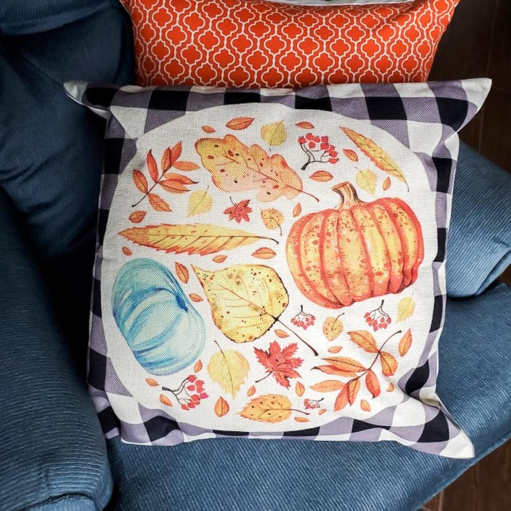 Fall Cozy! 18x18 Zippered Pillow Cover With Or Without Insert - Round Fall without