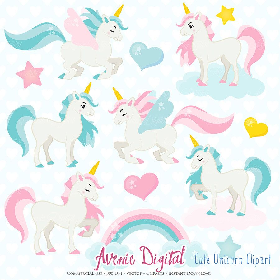 Cute Unicorn Clipart. Scrapbook printable little pony clip ...