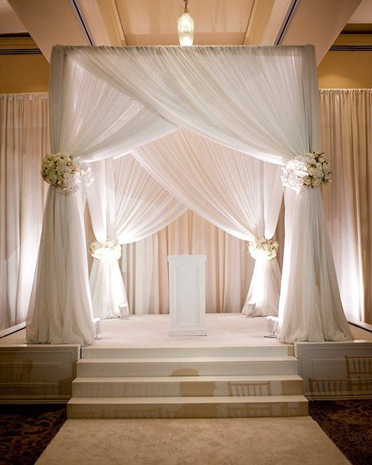 Wedding Altar Curtains: Classic #canopy #floral #bouquets Add A Wonderful Touch To