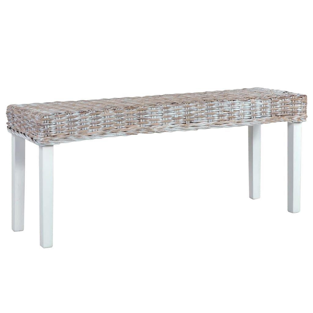 ZNTS Bench 110 cm White Natural Kubu Rattan and Solid Mango Wood 285788