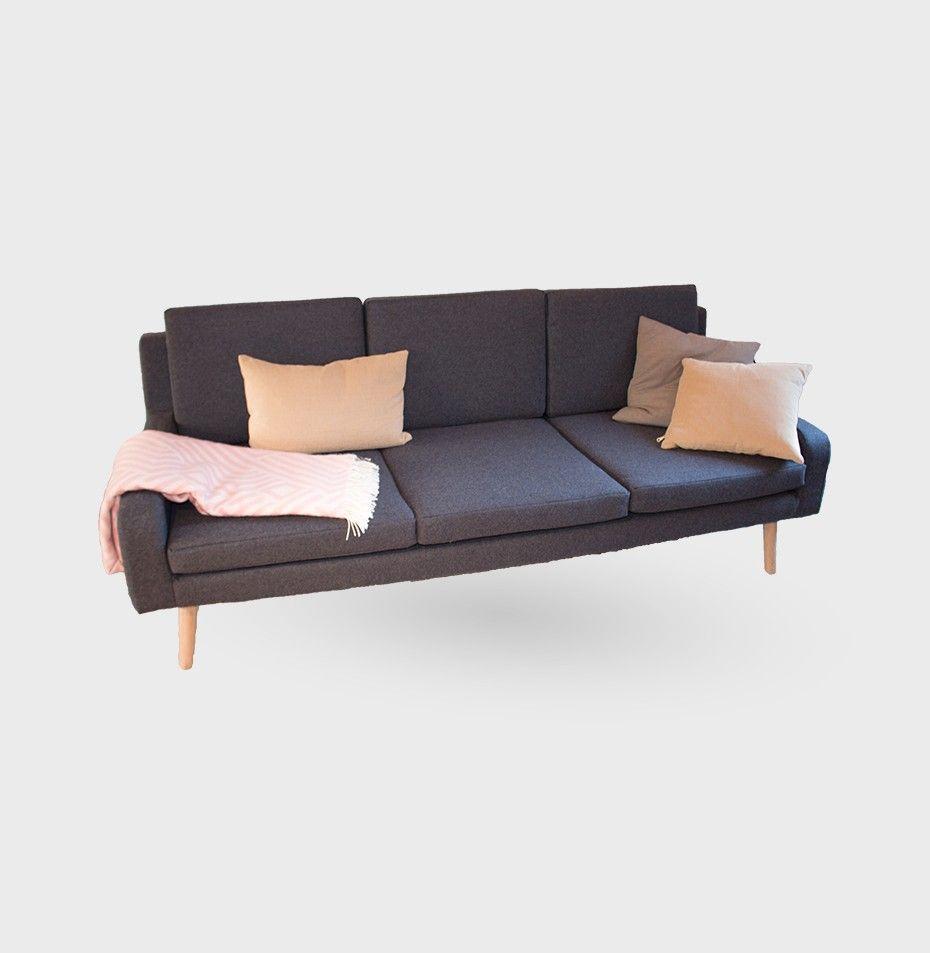 sofa uld 3 pers 3 PERS. SOFA, 202x87x78cm   Koksgrå Uld   BY SOL | Nova Møbler  sofa uld 3 pers