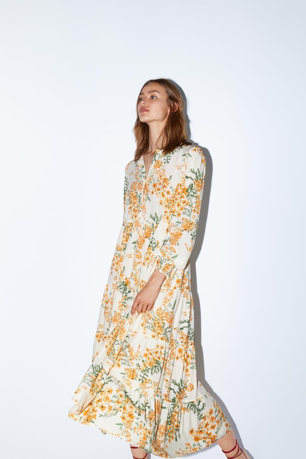 Sukienka W Kwiaty Zobacz Wiecej Sukienki Kobieta Zara Polska Dresses Orange Floral Dress Floral Print Dress