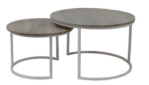 Set van industriële salontafels rond wit met teak ideeën