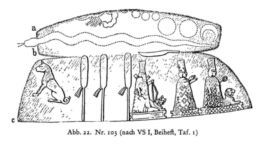 Die babylonischen Kudurru-reliefs: Symbole mesopotamischer Gottheiten - Ursula Seidl - Abb. 22. Nr. 103 (nach VS I, Beiheft, Taf. 1) Dunfort unbekannt. In Berlin, Staatliche Museen VA 3031. Schwarzer Stein. H 21,7; Br 15,4; T 7cm. Beschreibung: F. Delitzch, VS I, VII, Nr. 36; Abbildungen: ibidem 26f., Nr. 36 (Autographie). Beiheft Taf. 1 (Zeichnung des Reliefs); Bearbeitung: F. Thureau-Dangin, RA 16 (1919) 141 ff. (Transskription und Ubersetzung). Steinmetzer 73 (B6).