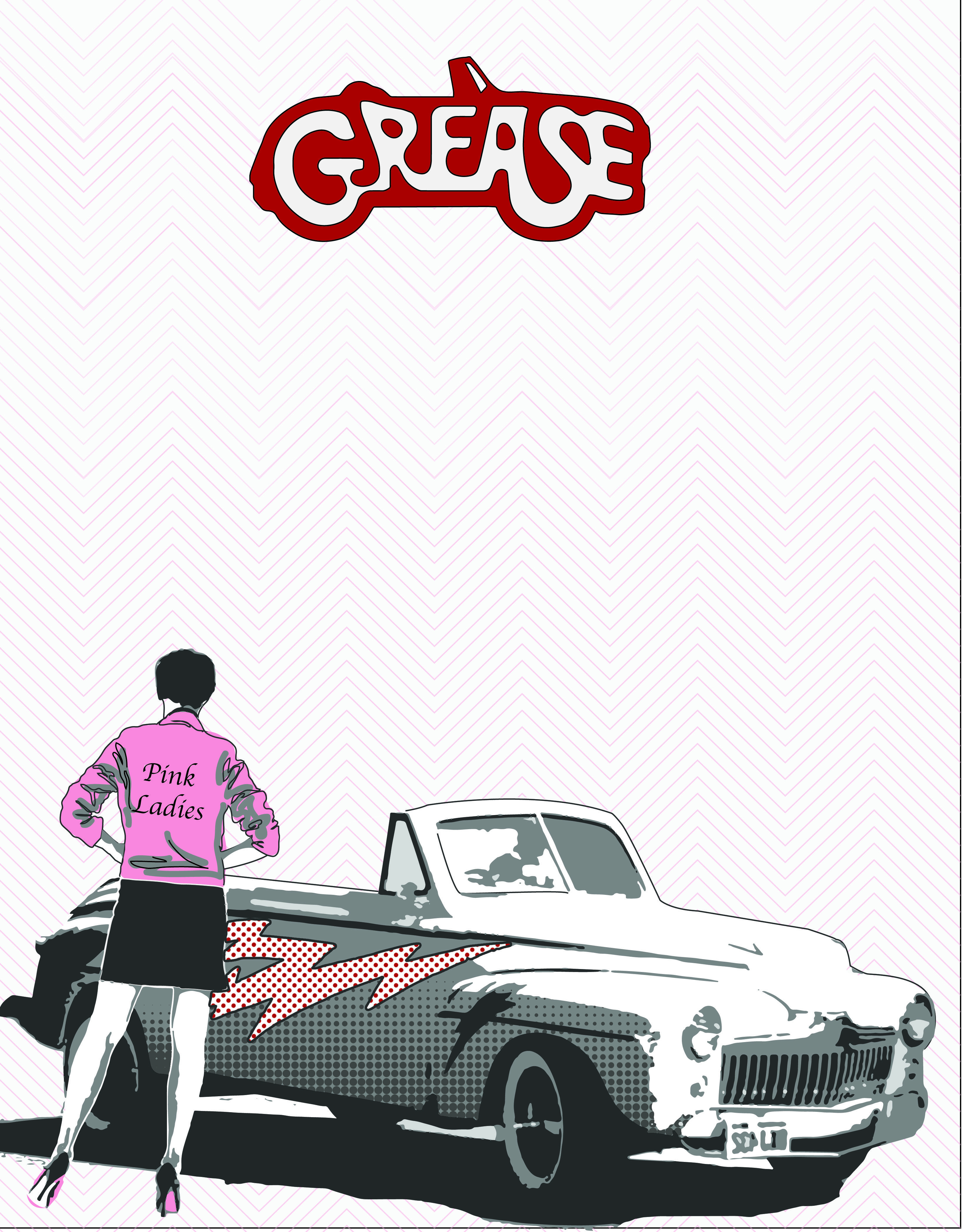 Grease Poster 3 More Color Then 2 With A Very Light Chevron Pattern In The Background Grease Movie Grease Musical Grease