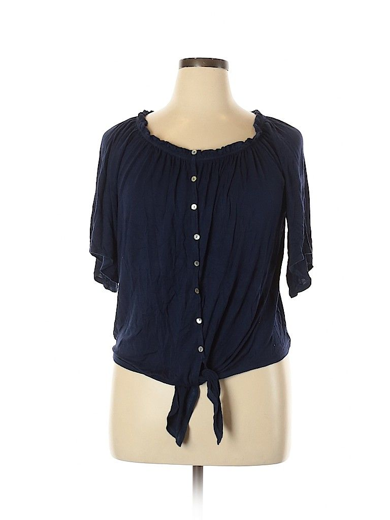 Gnw Short Sleeve Top Blue Scoop Neck Tops Used Size Large In