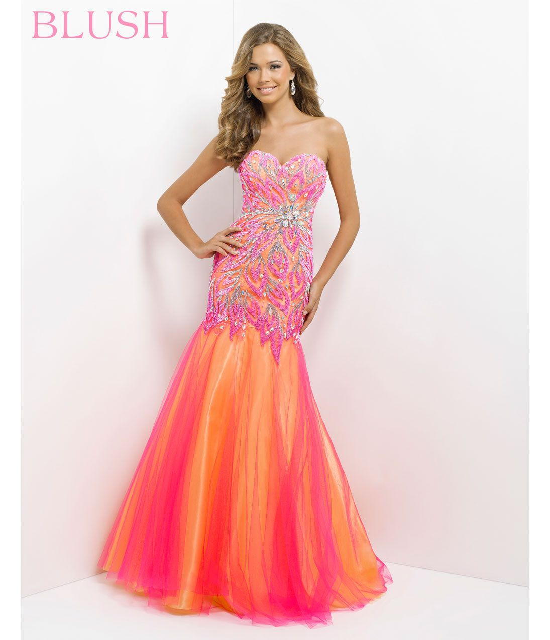 Blush 2014 Prom Dresses - Hot Pink & Yellow Strapless Embroidered ...