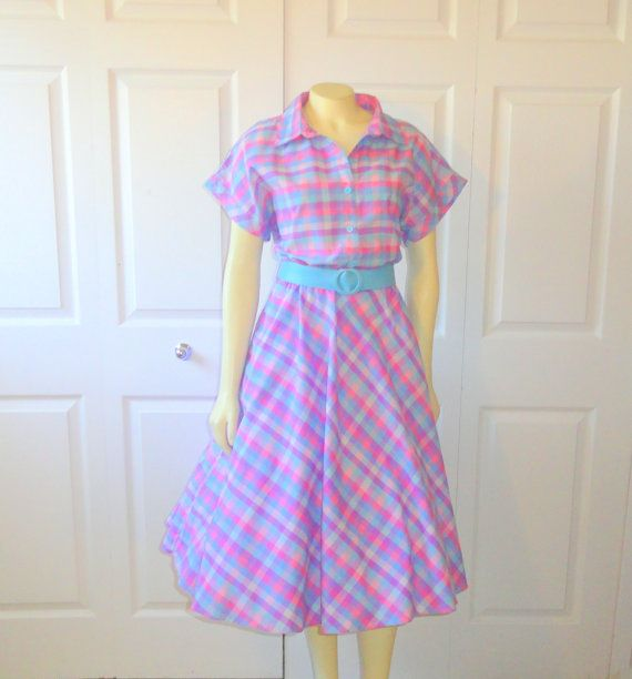 Image result for LAVENDER BLUE PINK PLAID DRESSES