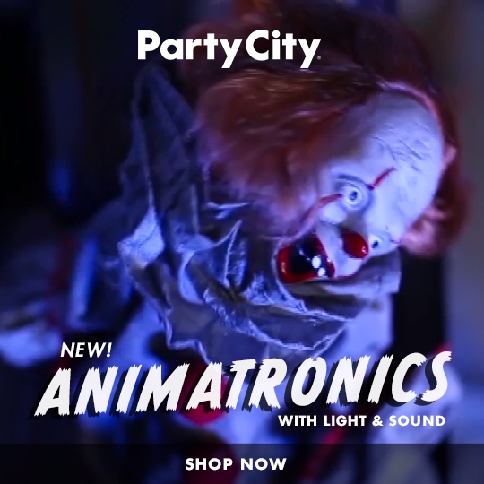 Scary at the switch of a button. Shop Party City's spooky collection of new anim…