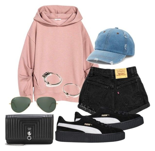 """""""Untitled #653"""" by el-khawla ❤ liked on Polyvore featuring Fendi, Ray-Ban, Mudd and Puma"""