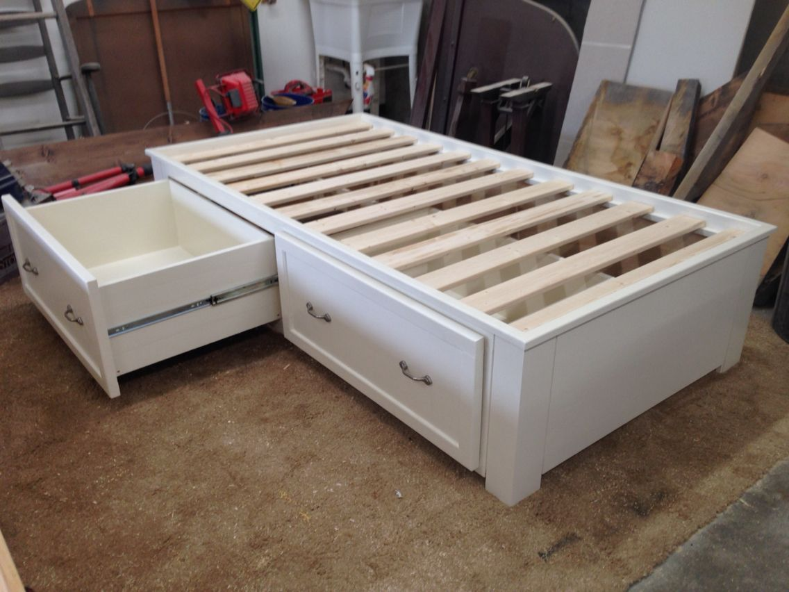 Twin Storage Bed With Full Extension Drawers With Images Kids