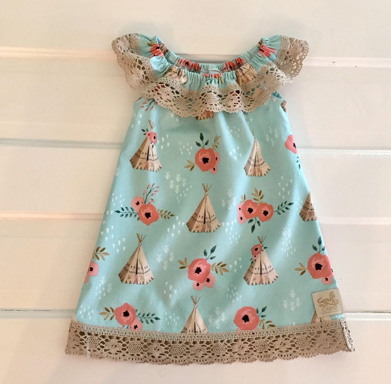 Boho baby dress toddler dress peasant dress ruffle peasant dress